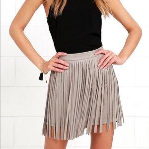 BB Dakota Suede Fringe Skirt